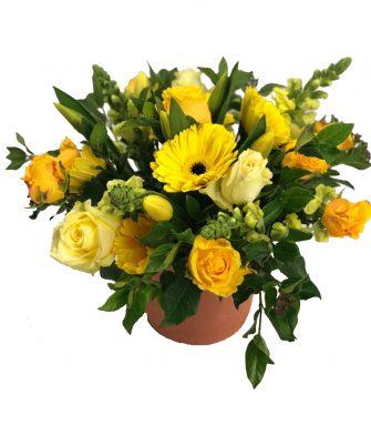 Snapdragons, Tulips, Roses, Viburnum and Gerberas