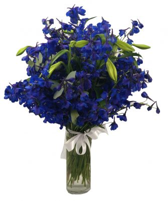 Delphiniums with St Jospeh Lillies