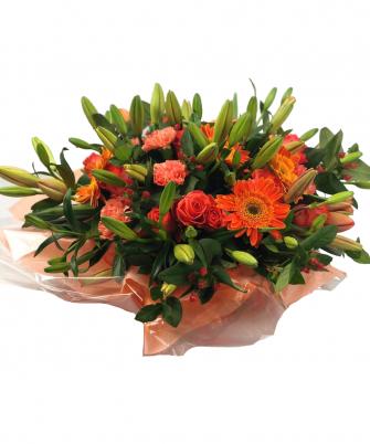 bright pumpkin-orange hatbox arrangement